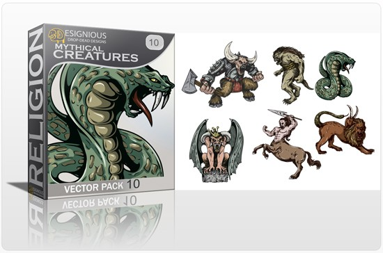 mythical creatures 10 1 5 New Mythical Creatures Vector Packs & 10 Drop Dead T Shirt Designs from Designious.com!
