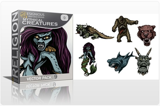 mythical creatures 9 1 5 New Mythical Creatures Vector Packs & 10 Drop Dead T Shirt Designs from Designious.com!