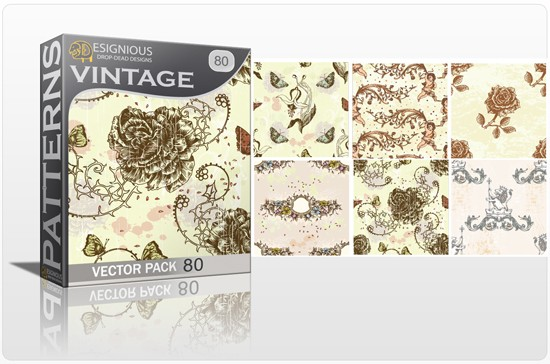 seamless vintage vector pack designious 80 10 Fabulous New Vintage Seamless Pattern Vector Packs & Freebie from Designious.com!