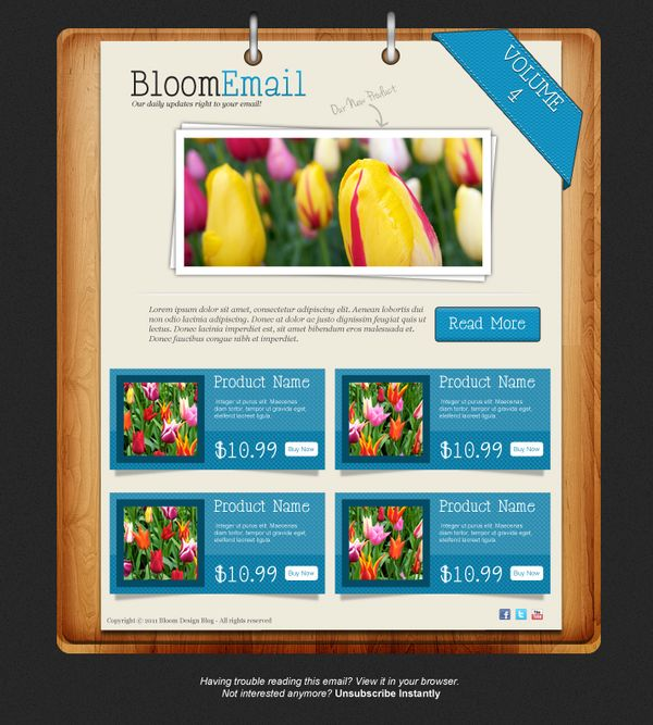 textured email template web design photoshop templates1 Photoshop Tutorials Roundup   February 2012