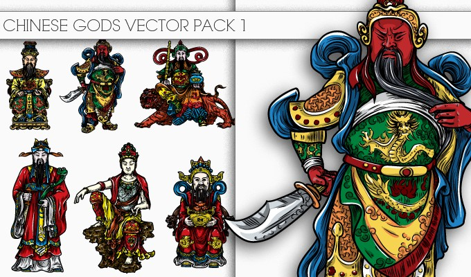 designious chinese gods vector pack 1 small New Awesome T shirt Designs, Vector Packs & Freebie from Designious.com!