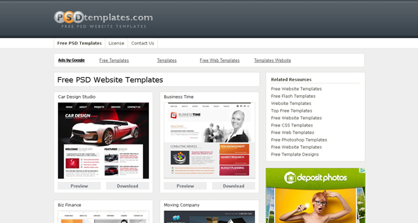 Websites free psd templates 8 20 Websites for Downloading Free Premium PSD Templates