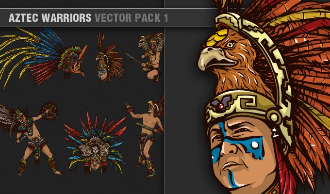 designious vector aztec warriors 1 small1 7 Remarkable Vector Packs & 1 Aztec Mega Pack from Designious.com!