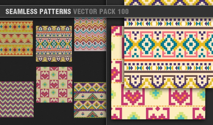 designious vector seamless patterns 100 small 7 Remarkable Vector Packs & 1 Aztec Mega Pack from Designious.com!