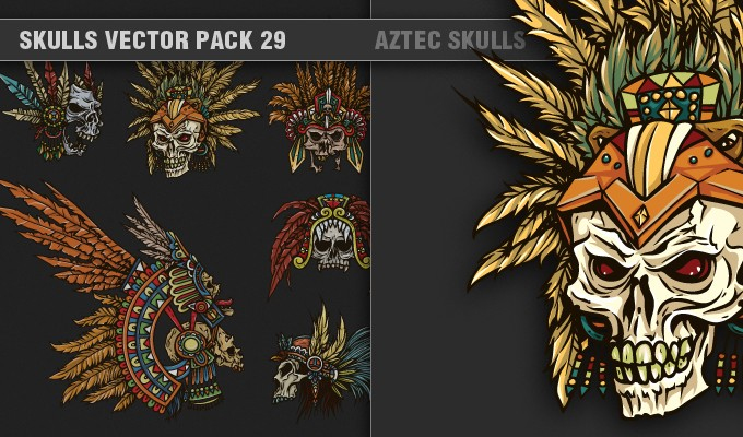designious vector skulls 29 small 1 7 Remarkable Vector Packs & 1 Aztec Mega Pack from Designious.com!