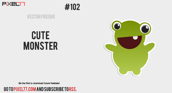 pixel77 free vector cute monster 600 Free Vector of the Day #102: Cute Monster
