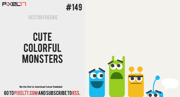 pixel77 free vector cute colorful monsters 600 Free Vector of the Day #149: Cute Colorful Monsters