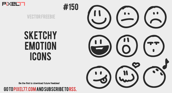 pixel77 free vector sketchy emotion icons 600 Free Vector of the Day #150: Sketchy Emotion Icons