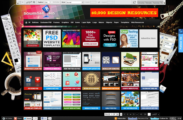 Websites free high quality PSD resources 11 25 Websites with Free High Quality PSD Resources