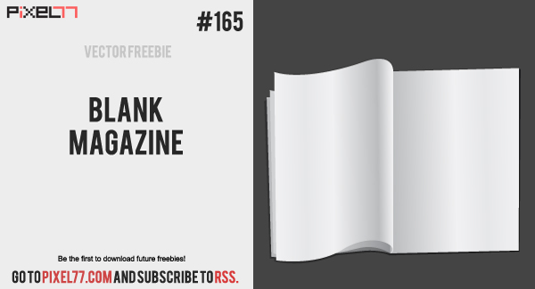 pixel77 free vector blank magazine 600 Free Vector of the Day #165: Blank Magazine