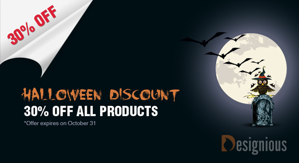 pixel771 Halloween Discount on Designious.com: 30% Off All Products