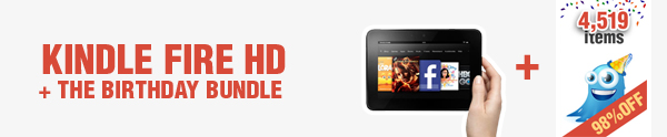 prize 1 InkyDeals Birthday Giveaway   Get a Kindle Fire HD & Much More