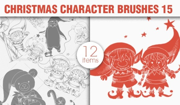christmas characters brush preview 15 small A Massive New Collection of Christmas Vectors, Ps Brushes & More from Designious.com