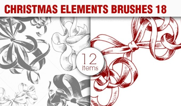 christmas elements brush pack 18 preview small A Massive New Collection of Christmas Vectors, Ps Brushes & More from Designious.com
