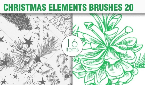 christmas elements brush pack 20 preview small A Massive New Collection of Christmas Vectors, Ps Brushes & More from Designious.com