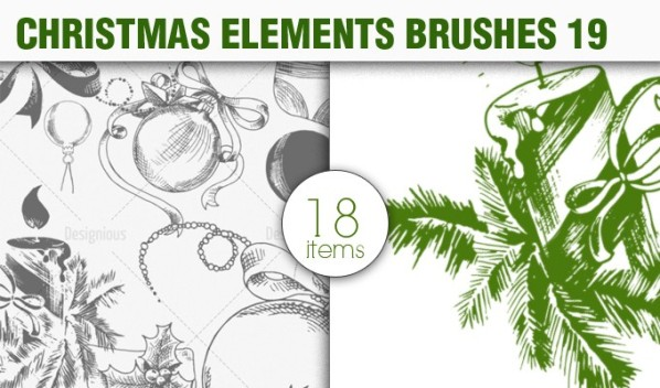 christmas elements brushes pack 19 preview small A Massive New Collection of Christmas Vectors, Ps Brushes & More from Designious.com