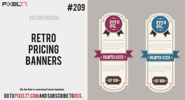 pixel77 free vector retro pricing banners 1119 600 Free Vector of the Day #209: Retro Pricing Banners