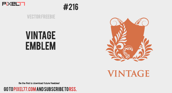 pixel77 free vector vintage emblem 1128 600 Free Vector of the Day #216: Vintage Emblem