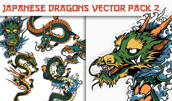 designious vector japanese dragons 2 small New on Designious.com: Japanese themed vector packs, Japanese bundle and a gorgeous freebie