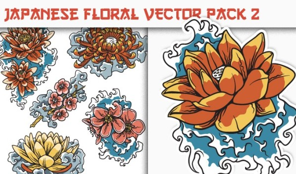 designious vector japanese floral 2 small New on Designious.com: Japanese themed vector packs, Japanese bundle and a gorgeous freebie