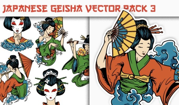designious vector japanese geisha 3 small New on Designious.com: Japanese themed vector packs, Japanese bundle and a gorgeous freebie