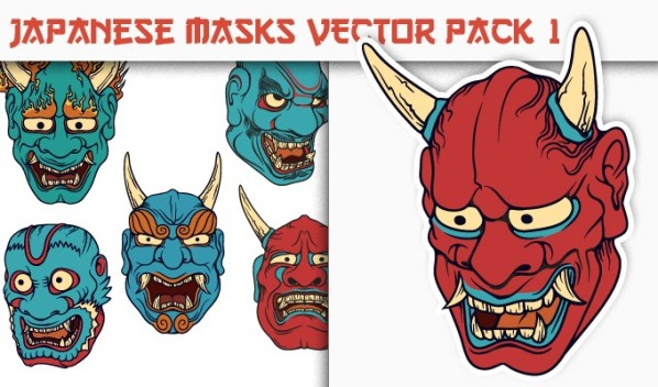 designious vector japanese masks 1 small New on Designious.com: Japanese themed vector packs, Japanese bundle and a gorgeous freebie