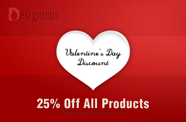 valentines discounts 25% Valentines Day Discount and Treasure Hunt at Designious.com!