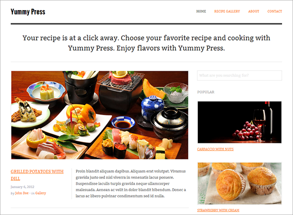 Yummy Press Site Template Giveaway: 4 Premium Responsive HTML Templates from Wini Themes!