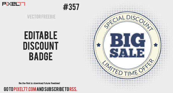 pixel77 free vector editable discount badge 0613 600 Free Vector of the Day #357: Editable Discount Badge
