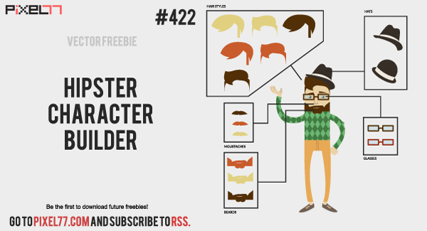 pixel77 free vector hipster builder 0913 600 Free Vector of the Day #422: Hipster Character Builder