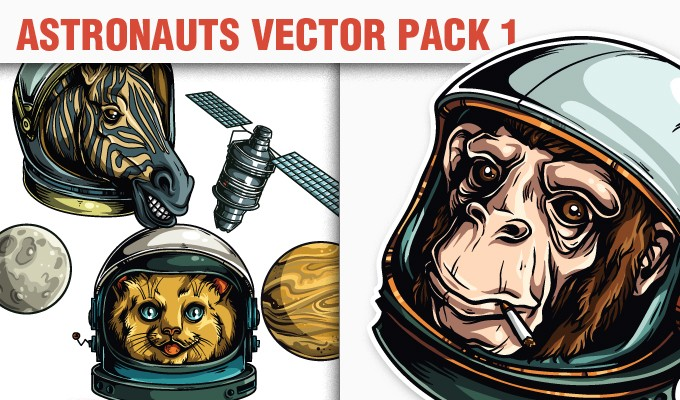 designious vector astronauts 1 small 10 New Vintage Vector Packs & 1 Mega Pack from Designious.com