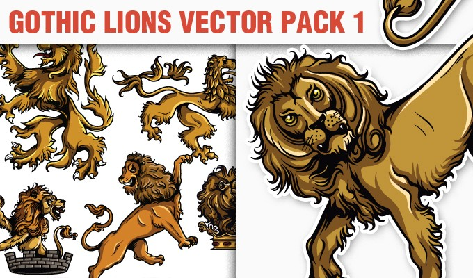 designious vector gothic lions 1 small 10 New Vintage Vector Packs & 1 Mega Pack from Designious.com