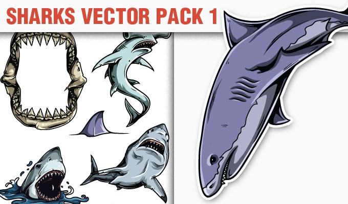 designious vector sharks 1 small 10 New Vintage Vector Packs & 1 Mega Pack from Designious.com