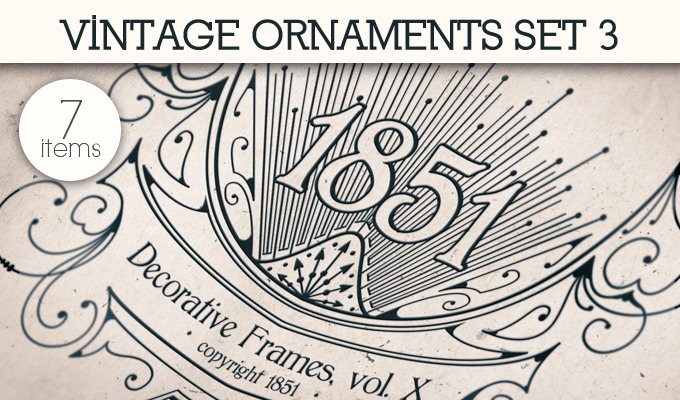designious vintage ornaments 3 small 10 New Vintage Ornaments Vector Packs & 1 Mega Pack from Designious.com