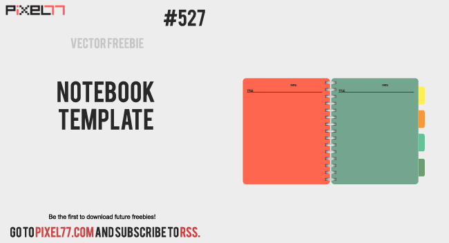 pixel77 free vector notebook 0207 650 Free Vector of the Day #527: Notebook Template