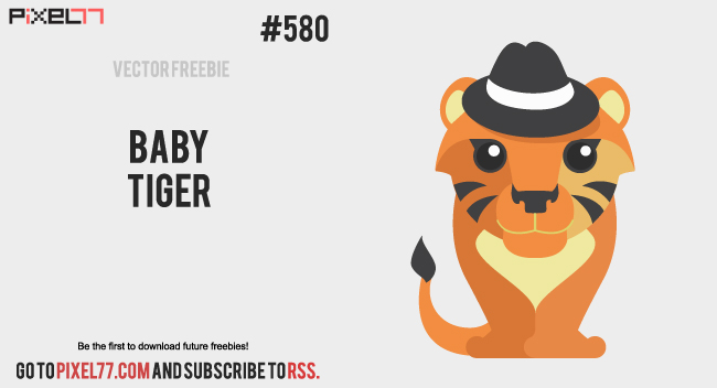 pixel77 free vector baby tiger 0423 650 Free Vector of the Day #580: Baby Tiger