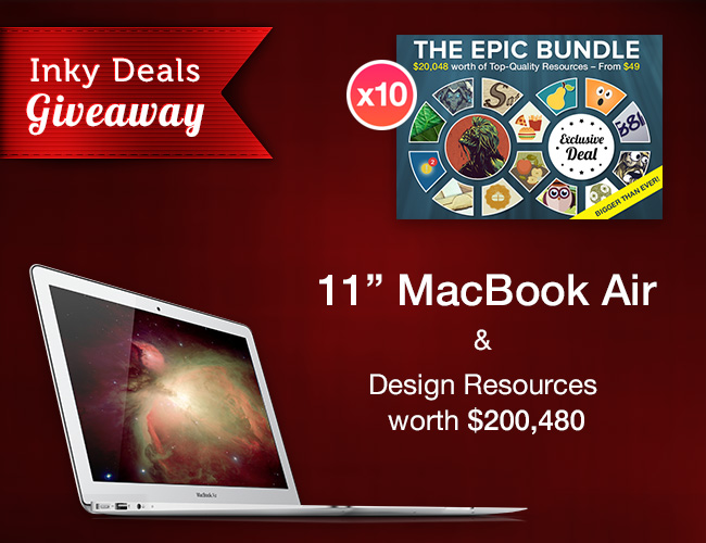 Inky Deals Giveaway: 11 MacBook Air & Design Resources worth $200,480