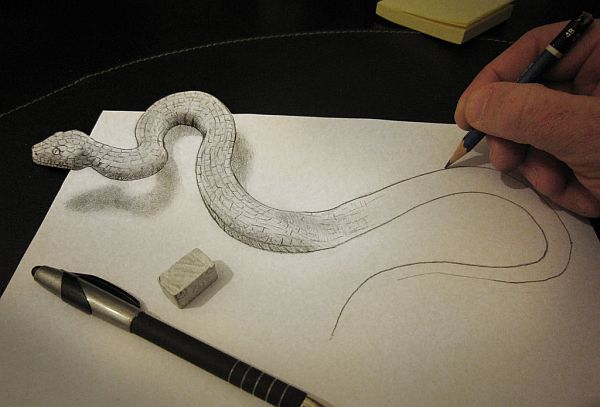Anamorphic Pencil Art By Alessandro Diddi Pixel - Anamorphic art looks real