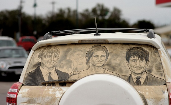 Dirty Car Art By Scott Wade Pixel - Scott wade makes wonderful art dusty car windows