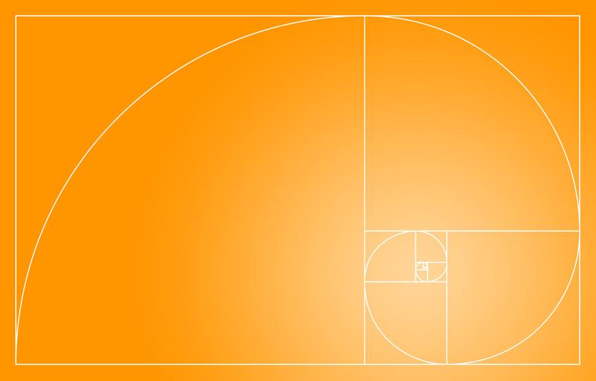 Fibonacci Spirale im goldenen Schnitt - Orange Wei